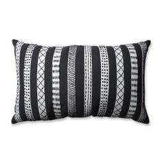 Tribal Bands Grey-Cream-Black Rectangular Throw Pillow