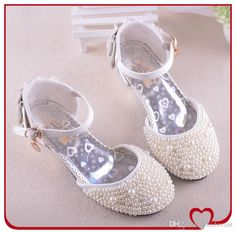 Flower Girls Fashion Beads Princess Kids High Heeled Children Shoes For Baby Girls Kw Sh033 Bridesmaids From Kidswant, $31.1 | Dhgate.Com