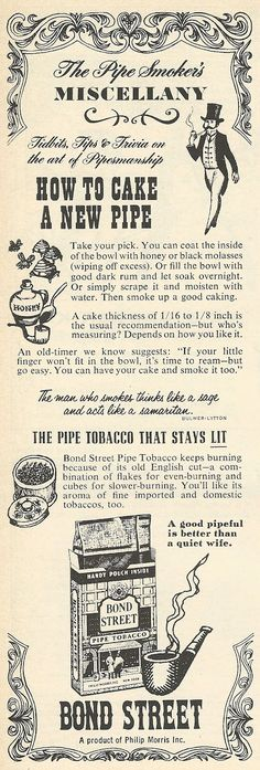 Old Ads Are Funny: 1962 ad: Bond Street Pipe Tobacco