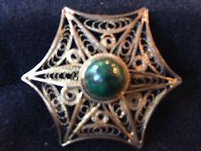 Vtg Pin Brooch Starburst Flower Scrolled St Silver 925 Pendant Gold Green Stone