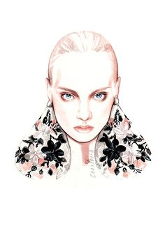 Fashion illustration - fashion portrait for Giambattista Valli // Antonio Soares