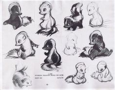 Skunk studies for Bambi by Marc Davis
