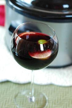Slow-Cooker Winter Sangria Recipe on Yummly Winter Sangria, Winter Drink, Warm Cocktails, Fun Drinks, Yummy Drinks, Beverages, Holiday Drinks, Party Drinks, Mixed Drinks