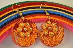 Orange Teardrop Quilling Earrings  Free Shipping by thoughtwork