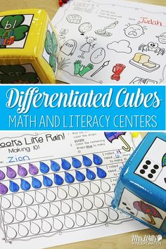 Differentiated Cubes for math and literacy centers.  Great activities for kindergarten and first grade.  Students practice making 10, addition, subtraction, blends, and other language skills.   So fun, your class will love them.  ALSO editable sight words!