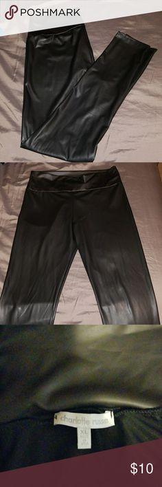 Faux Leather leggings Faux Leather leggings from Charlotte Russe.  XL only worn once. Stretchy. Smoke free home Charlotte Russe Pants Leggings