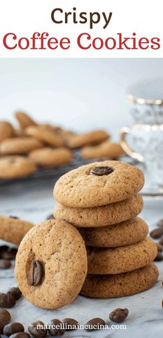 Coffee Cookies are a deliciously crispy cookie that is easy to make and even easier to eat. This cookie recipe is made with pure ground coffee and topped with a whole coffee bean so there is no mistaking the intense coffee flavour. #bestcookierecipes #easycookierecipes #coffeecookie #easycookies #coffee #sweets #baking Ground Coffee Beans, Crispy Cookies, Coffee Cookies, Easy Cookie Recipes, Coffee Recipes, Tray Bakes, Macarons, Food Inspiration, Food To Make