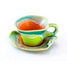 La taza de café del gres té platillo pequeño arcilla - hecho a mano único creado con amor a los colores de esmalte - naranja turquesa verde