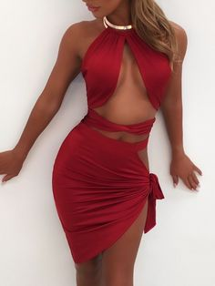 Sexy Crisscross Bandage Metal Collar Skirt Set trendiest dresses for any occasions, special event dresses, accessories and women clothing. Sexy Outfits, Sexy Dresses, Cute Dresses, Fashion Outfits, Summer Dresses, Trendy Dresses, Luau Party Dress, Party Dresses, Event Dresses