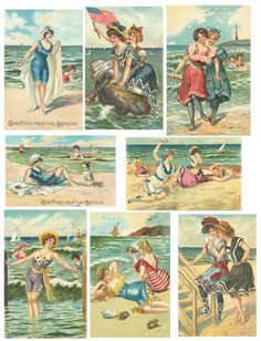 Free vintage collage sheets #vintage  Women dressed in bathing suits at the beach