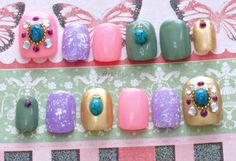 Japanese nail art fake nails acrylic nails gel nails by Aya1gou, $16.50