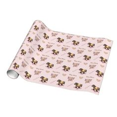 Cute Pink Baby Shower Wrapping Paper #rockinghorse