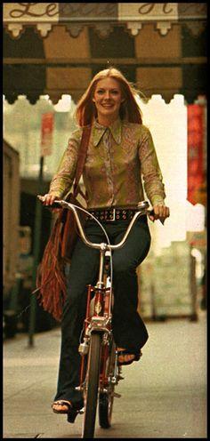 mysterygirlvintage: Inga Whealton on a bike Playboy, 1971
