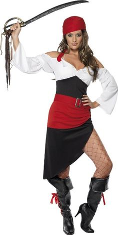 Heat up the pirate ship with the Sassy Pirate Wench Costume. This female pirate fancy dress costume includes a skirt top belt and headscarf.  sc 1 st  Pinterest & Shop Halloween womenu0027s pirate costumes at RebelsMarket. | Halloween ...