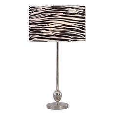 Set of two metal table lamps with orb accents and zebra-print drum shades.     Product: Set of 2 table lampsConstruction M...