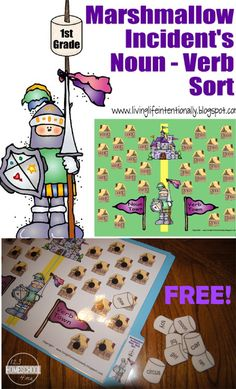 FREE Marshmallow Incident Noun / Verb Game - This is such a fun, free printable game to help kids practice identifying parts of speech. FUN GAME (homeschool, 1st grade, 2nd grade, 3rd grade, 4th grade, language arts, literacy center, after school, parts of speech)