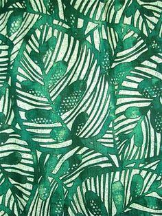 Gallant Leaf Emerald Batik Fabric