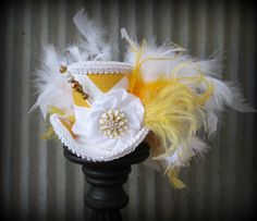 Yellow Chevron Mini Top Hat Mad Tea Party Mad Hatter by ChikiBird