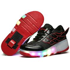 Boys Girls LED Light Up Shoes Sneakers Kids Retractable Wheel Roller Skate Shoes *** You can find more details by visiting the image link.