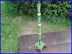 Antique Art Deco Jadeite Houze Slag Glass Cast Iron Floor