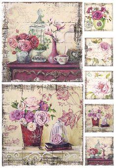 La Blanche Decoupagepapier Rosen Vintage neu   eBay
