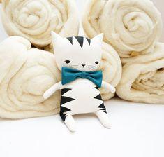 Muñeca de Sixten gato suave estampado a mano
