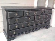 Black Distressed Dresser / Dark Oak Dresser w/ Mirror & Antique Desk