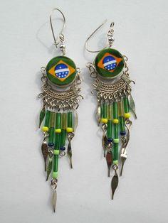 1 Paar Ohrringe aus Brasilien Länge ca. 5 cm Ohr Schmuck nr.6 br