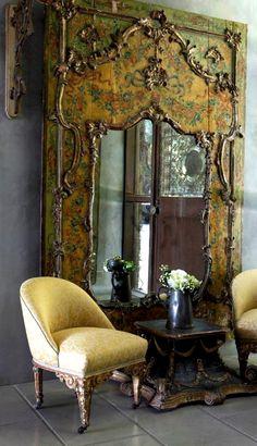 Stunning mirror; mirrors; beautiful large hand-painted mirror