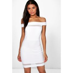 Boohoo Kat Mesh Insert Off Shoulder Bodycon Dress   Boohoo (20,650 KRW) ❤ liked on Polyvore featuring dresses, ivory, white dress, white sequin dress, white bodycon dress, off shoulder maxi dress and white off the shoulder dress