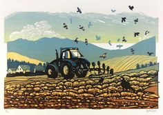 I need to make Walter some tractor art! (by Linocut Artist Ian Phillips) Linocut Artists, Le Mont St Michel, Lino Art, Farm Art, Print Artist, Pictures To Paint, Woodblock Print, Printmaking, Illustration Art