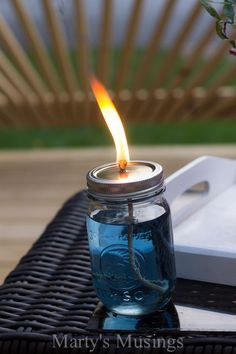 mason jar bug repellent candle, decks, diy, outdoor living, patio, pest control