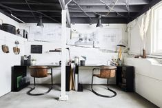 """A Basement-Turned-Office Reveal (+ 7 Steps For How to Pull Off """"Edgy Neutral"""") – Emily Henderson – Creative Home Office Design Basement Home Office, Home Office Table, Modern Basement, Home Office Design, Unfinished Basement Walls, Industrial Basement, Loft Office, Loft Design, Industrial Office"""