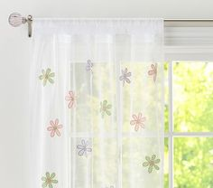 Gingham Floral Sheer #PotteryBarnKids i wonder if these are too girly to have under the dot curtains