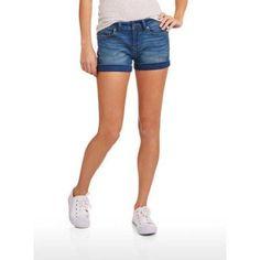 No Boundaries Juniors' Super Soft Essential Denim Shorts, Size: 15, Blue