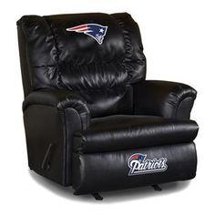 New England Patriots Leather Big Daddy Recliner at www.SportsFansPlus.com