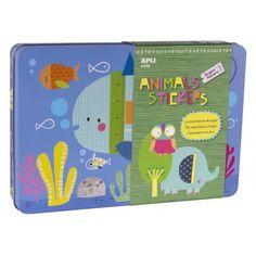 """Juego de Gomets En Caja  Metálica """"Animal Stickers"""" Apli 14827"""