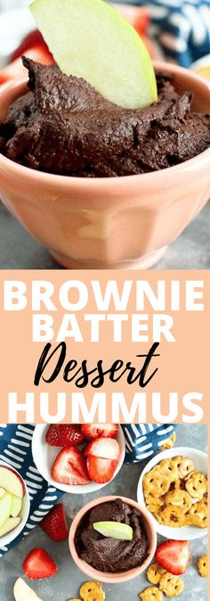 This Brownie Batter Dessert Hummus recipe is a must try! Who knew you could turn chickpeas into a dippable delicious chocolate dessert? Oh yeah! You're going to love this vegan gluten-free and dairy free recipe. Naturally sweetened and so good. Dessert Hummus Recipe, Healthy Hummus Recipe, Dessert Dips, Hummus Recipe No Lemon, Homemade Hummus Recipe, Hummus Dip, Cheesecake Desserts, Healthy Desserts, Healthy Food