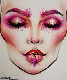 Schön gemaltes rosarotes Bild von einer Frau. # Königin