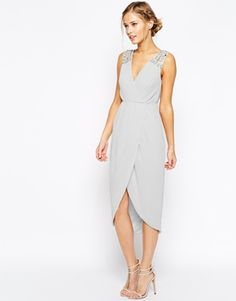 TFNC Midi Dress With Embellished Shoulders And Wrap Skirt