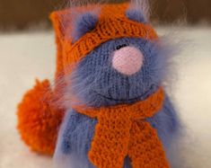 Amigurumi Cat Doll : Cat butterfly knitted funny cat miniature amigurumi cat pet thai