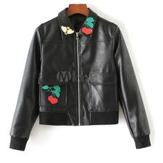 Black Leather Jacket Women's Applique Short Jacket via Polyvore featuring outerwear and jackets