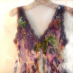 Reserved for Joan Lovely Unique Summer Evening Party SILK TOP Very Feminine Violet Green Lavender Croched Laces, Evening Tops, Summer Evening, Evening Party, Fairytale Fashion, Vintage Textiles, Embroidered Silk, Gypsy Style, Cotton Lace, Silk Top