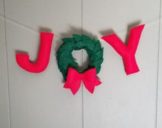Joy Wreath Banner / Christmas Card Prop / Red by QuarterLifeLuck