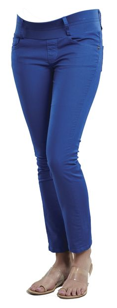 Royal Blue Colored Skinny Ankle Maternity Jeans from Maternal America