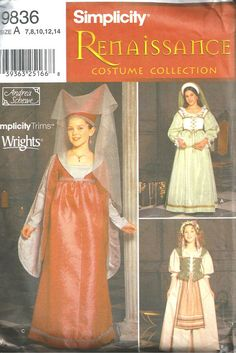 Simplicity Renaissance Costumes 78101214 by SewReallyCute, $4.00