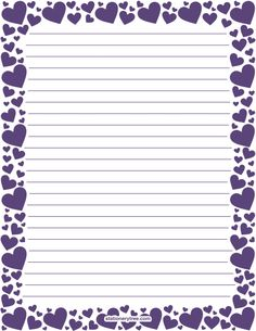 Printable purple heart stationery and writing paper. Multiple versions available with or without lines. Free PDF downloads at http://stationerytree.com/download/purple-heart-stationery/