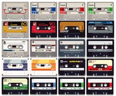 Compact Cassettes from yesteryear... redrawn as a vector illustration