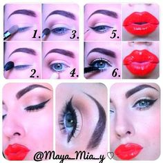nude eye look with red lips <3