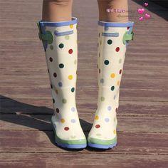 Fresh polka dot high female rain shoes leather boots for women $10.12
